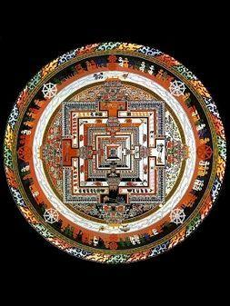 Mandala tibétain appélé roue du temps ou Kalachakra.